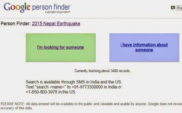 google launches person finder to help survivors in nepal earthquake