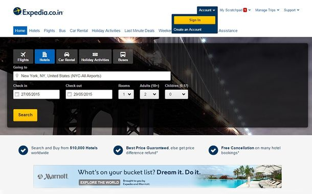Expedia Homepage Screen