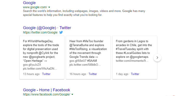 Search Result Google Tweets