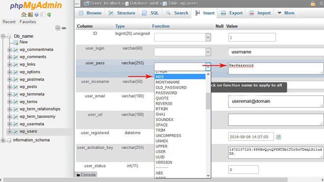 PHP MyAdmin New Pasword