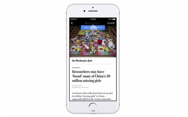 Instant Articles Horizontal Swipe