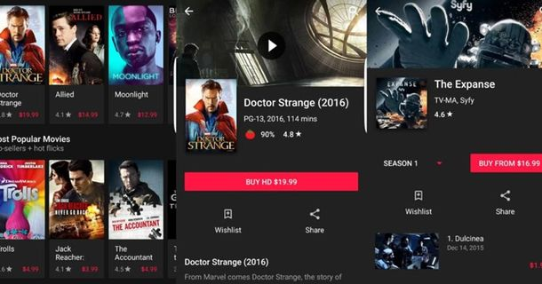 Google Play Movies and TV Dark