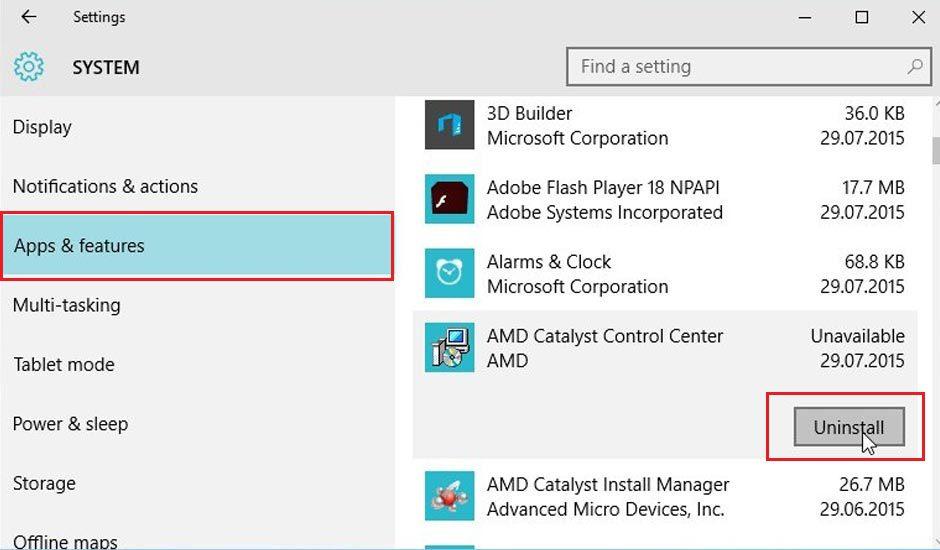 Windows 10 Uninstall App