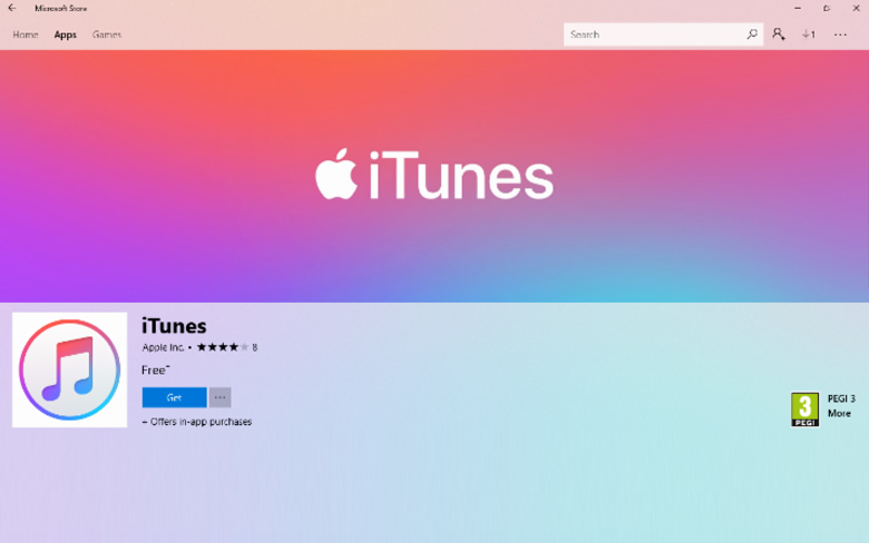Apple iTunes Microsoft Store