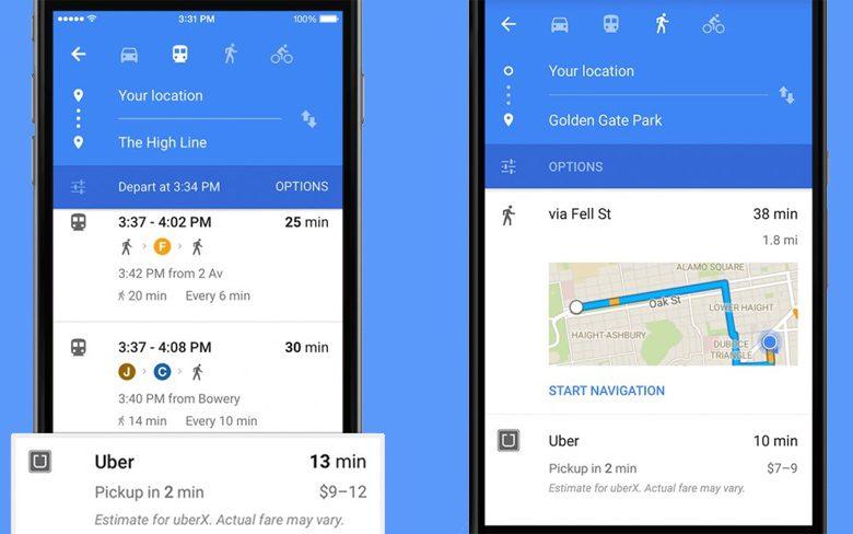 Google Maps Uber App