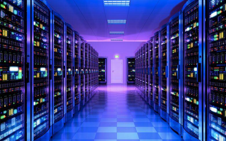 Server Room Showing Servers