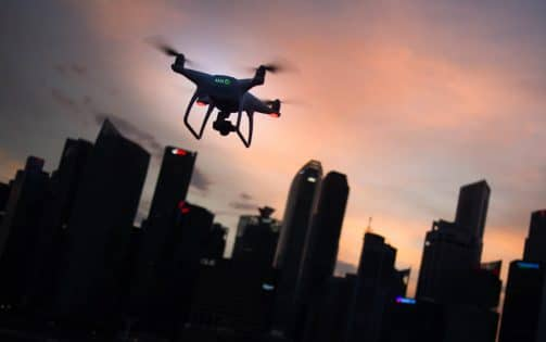 Drone Flying at Evening