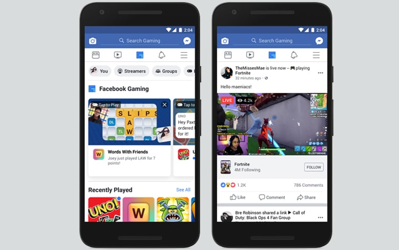 Facebook Gaming Tab