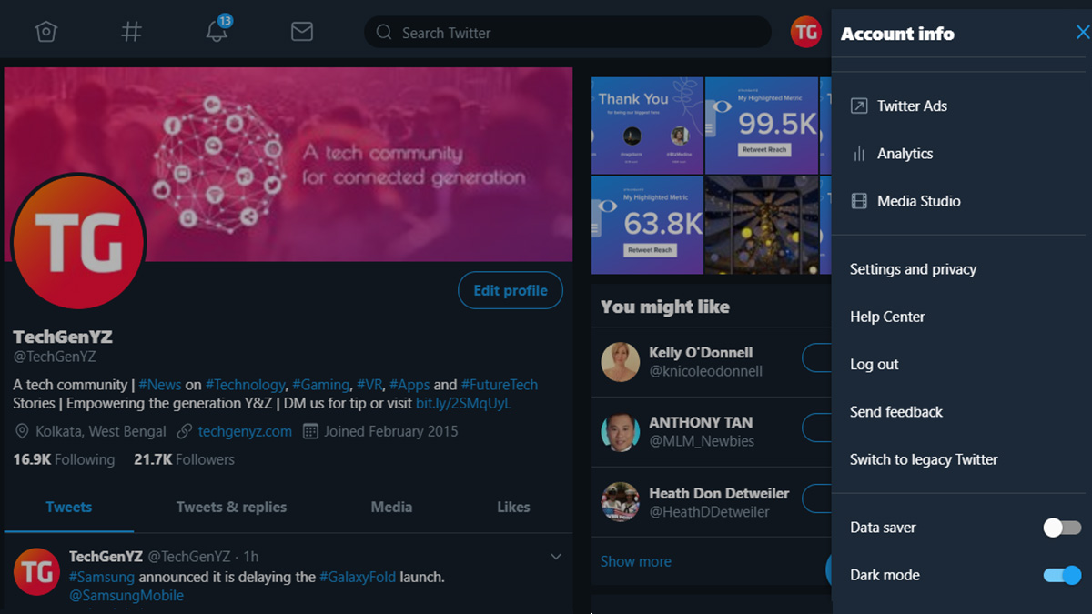 Twitter Sneak a Peek Dark Mode