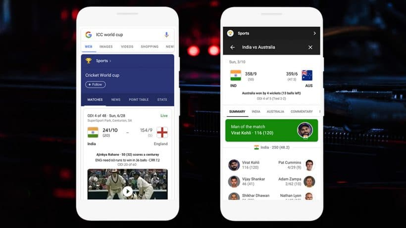 Google Assistant, Search Get New Features for Match Updates