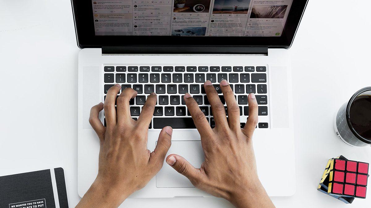 A Man Working on Social Media