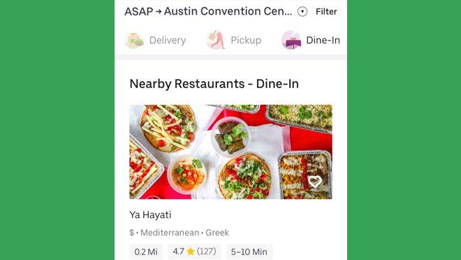 Uber Eats Dine-In Option