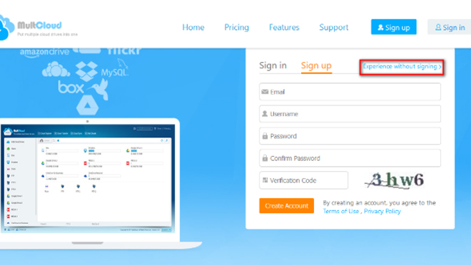 MultCloud Signup Page