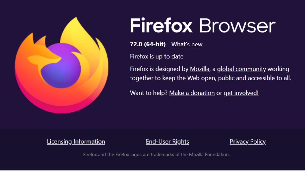 Mozilla Firefox Version 72.0