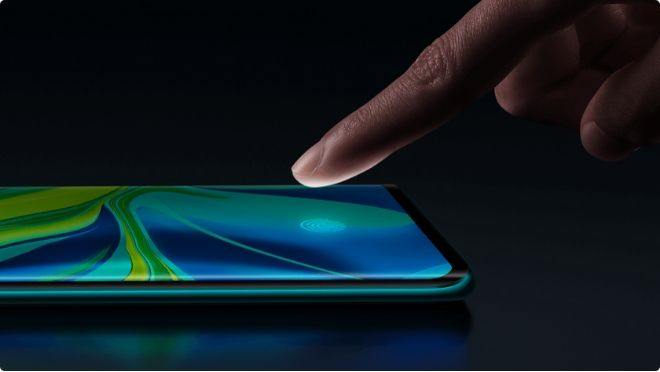 Xiaomi Mi Note 10 in-screen Fingerprint Sensor