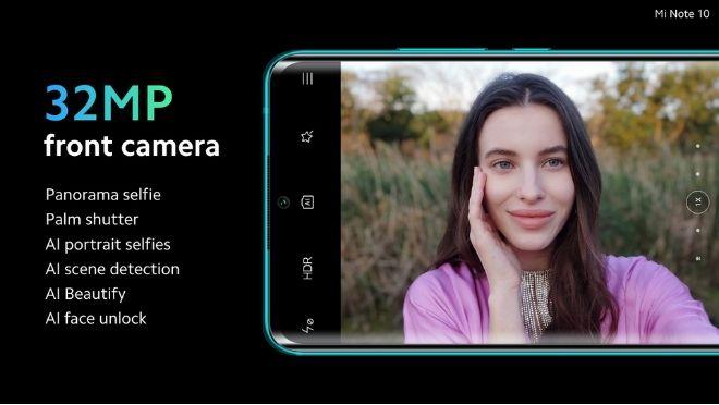 Xiaomi Mi Note 10 Selfie Camera