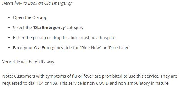 Steps to book the Ola Emergency service