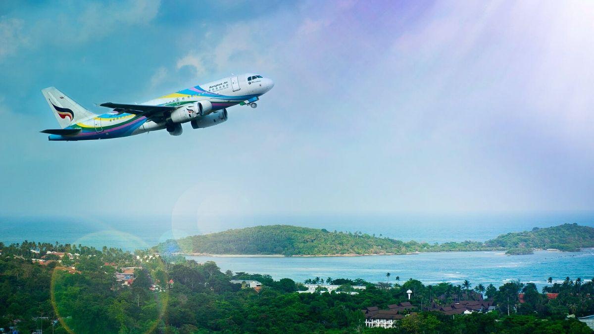 A Flight Taking Off In The Blue Sky