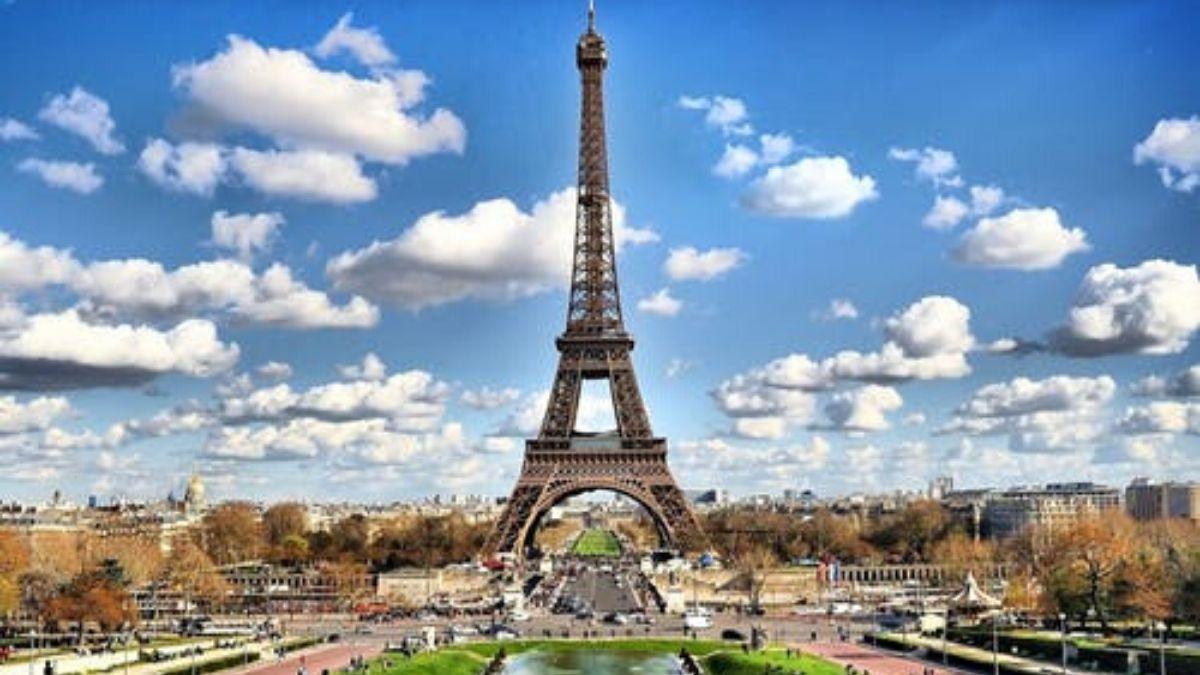 Eiffel Tower In Blue Sky
