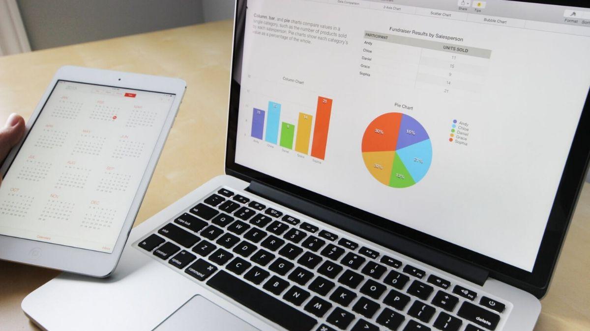 Laptop Showing Marketing Graphs