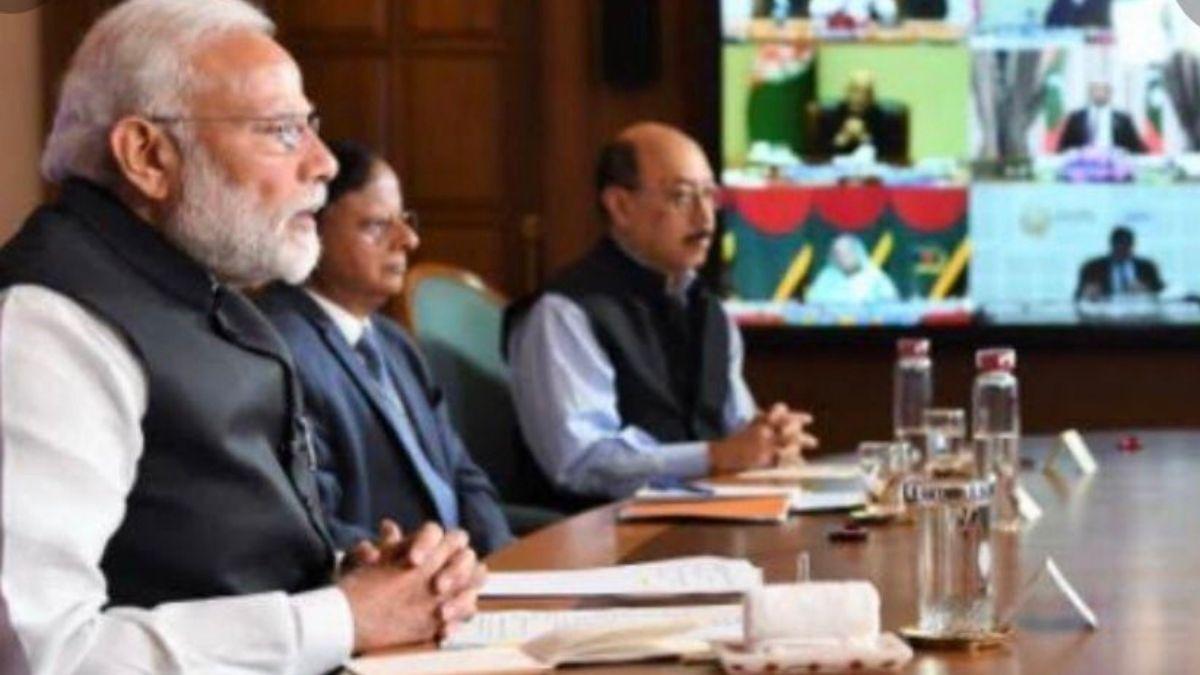 PM Modi In A Virtual Meeting