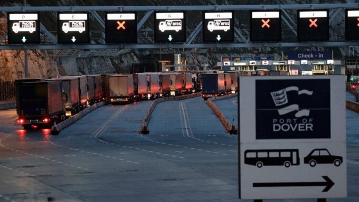 Goods And Cargo Trucks Waiting
