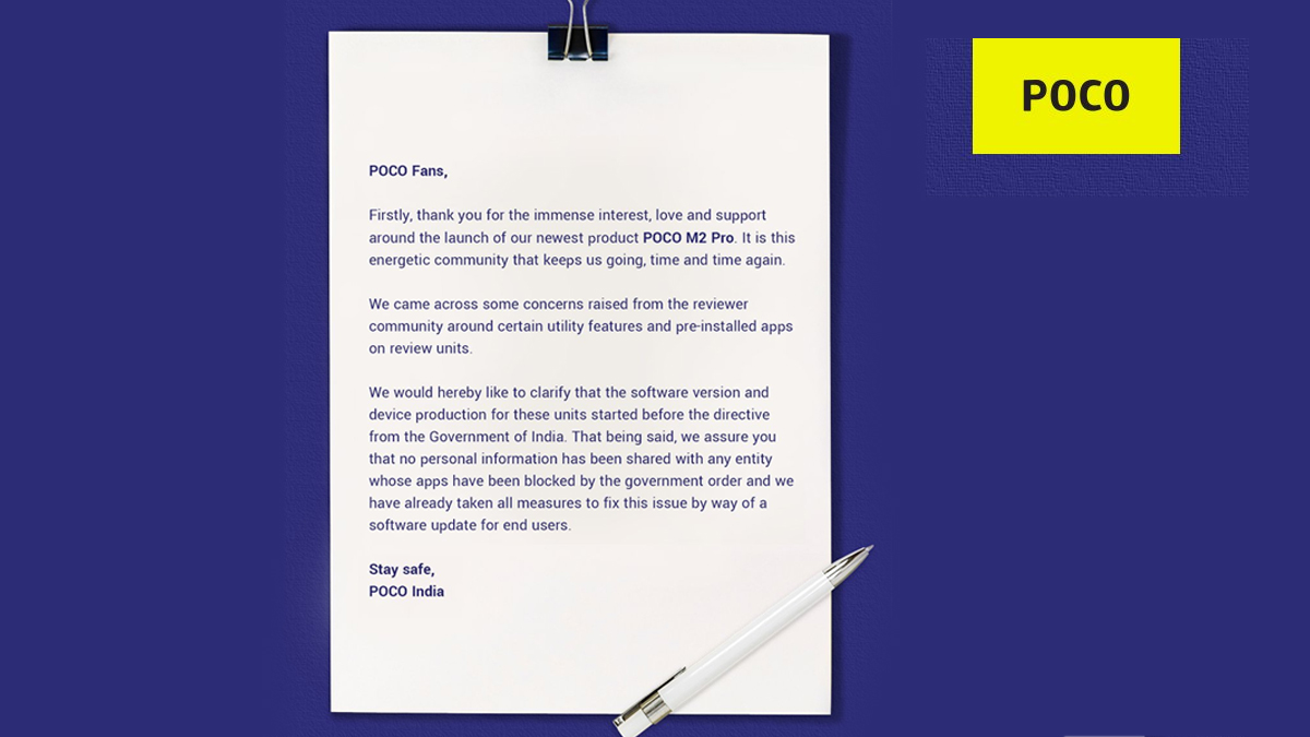 Poco Letter To Its Users