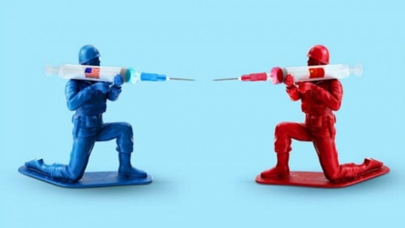 Blue And Red Men With Syringe