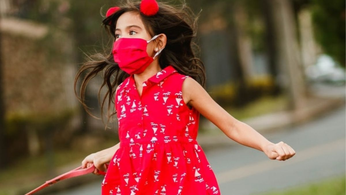 Girl With Virus Protection Mask