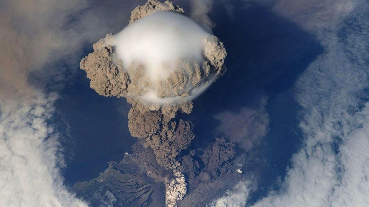 Volcano Erupting During Daytime
