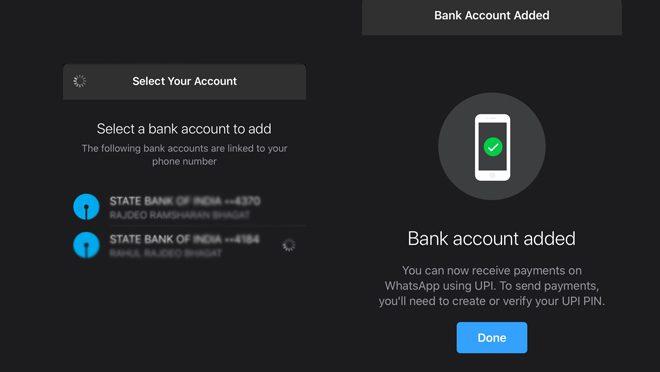 WhatsApp Bank Added