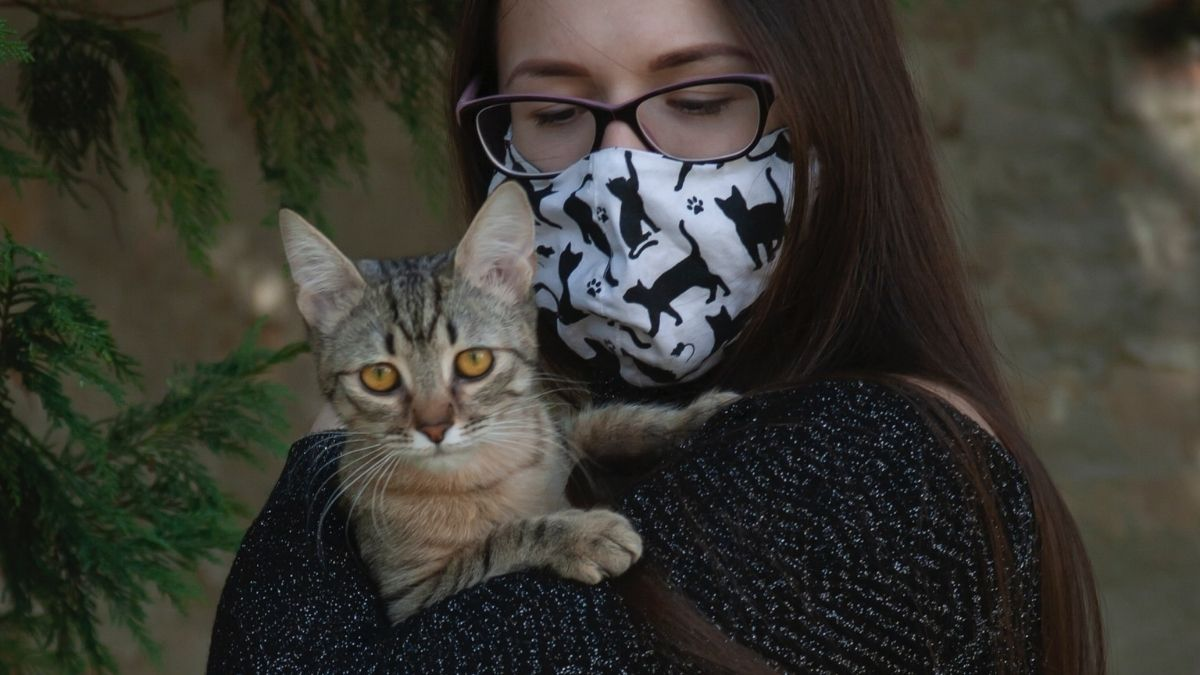 Woman With Mask Holding Cat