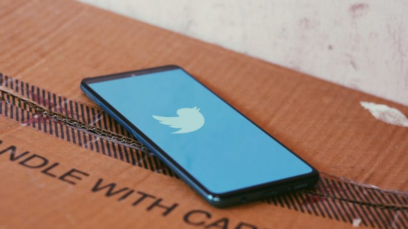 Twitter Blue On Brown Box