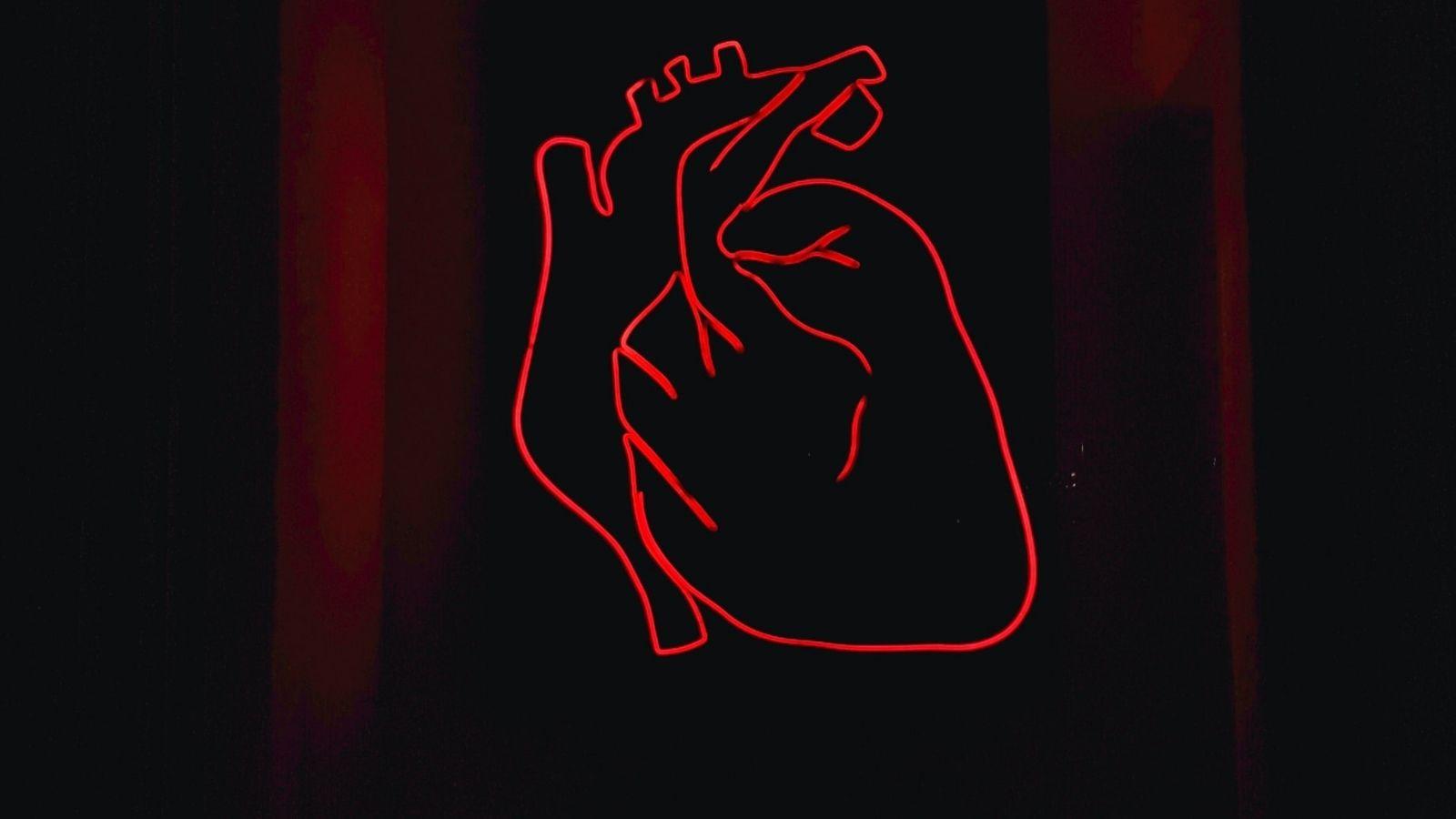 Heart Black Red