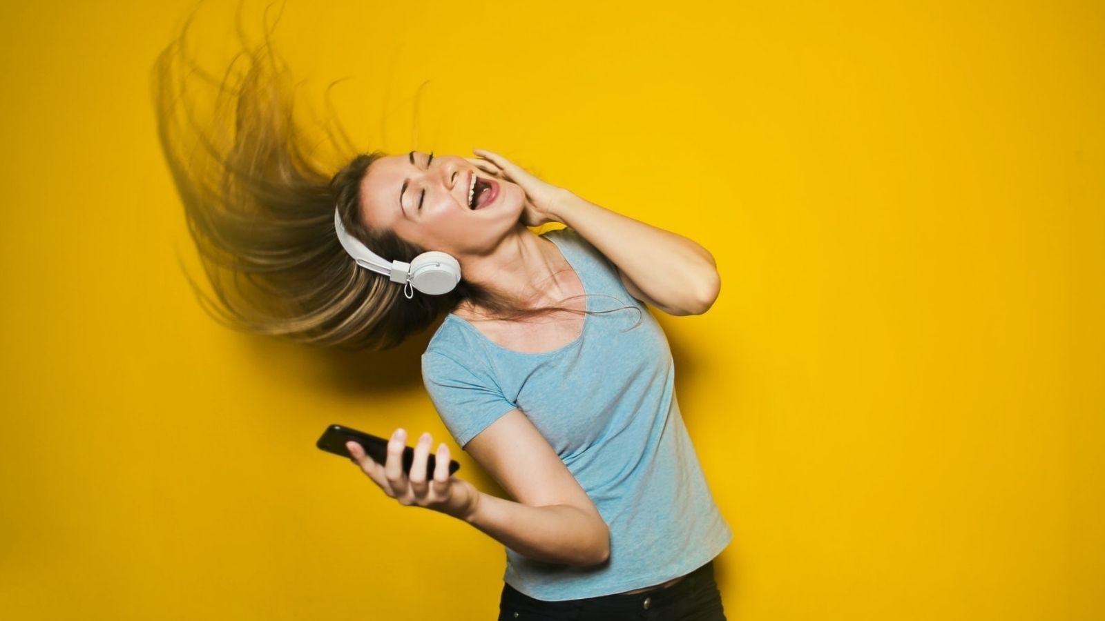 Woman Wearing Headphone
