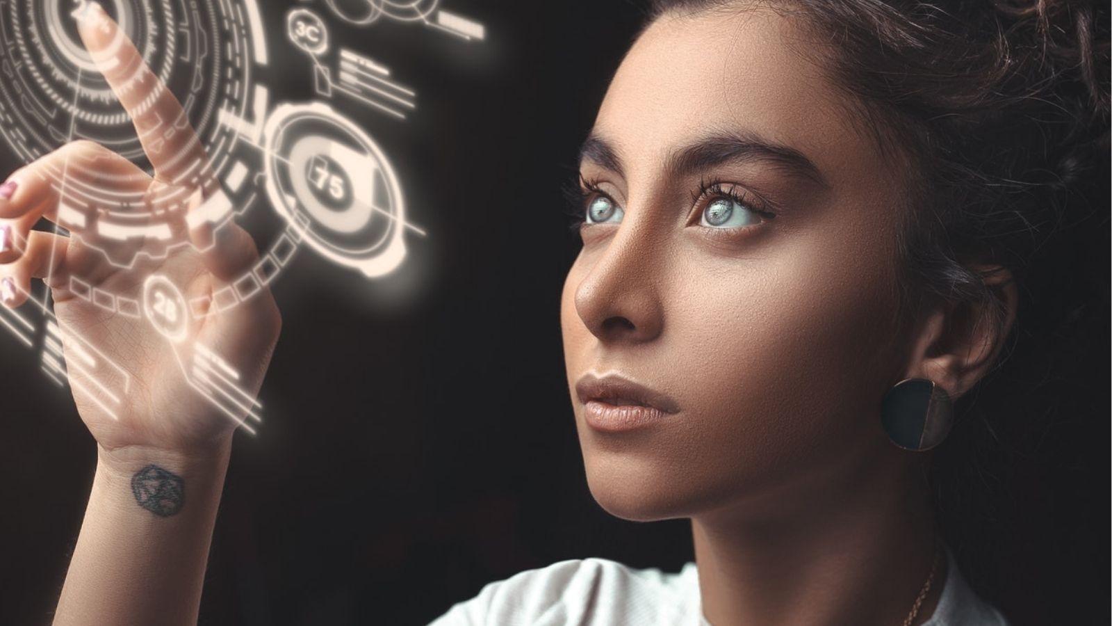 Woman Touching Tech Image